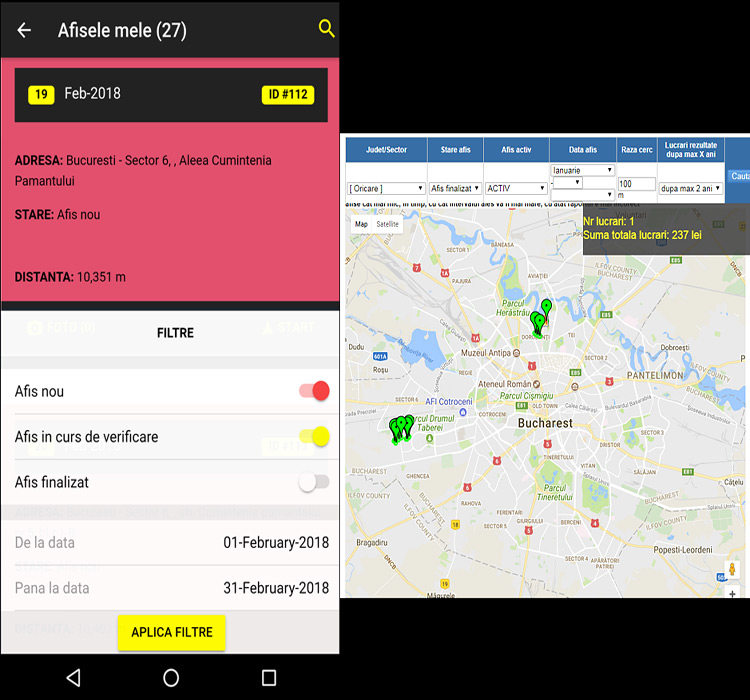 Aplicatie mobila Android - Marketing stradal